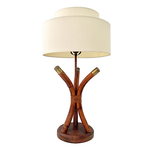 Rattan & Brass Lamp