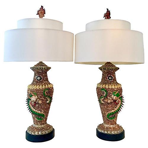 Shell Dragon Lamps, Pair