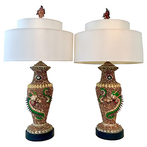 """Pair Of Vintage Shell """"Dragon"""" Lamps"""