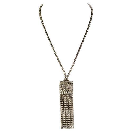 1960s Hobé Crystal Fringe Necklace