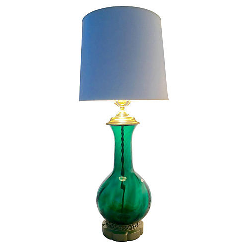 Blenko Blown Glass & Brass Lamp