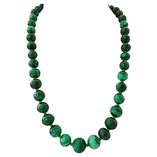 1970s Malachite Graduated Bead Necklace
