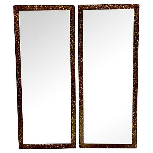 Gilt Wood Faux Tortoise Mirrors, Pair