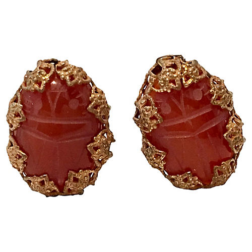 Miriam Haskell Scarab Earrings