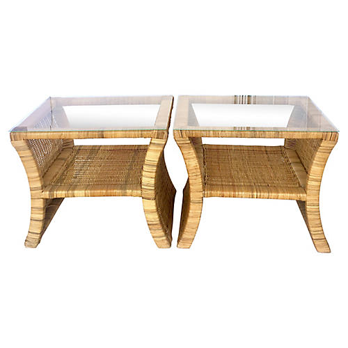 Rattan Glass-Top Side Tables, Pair