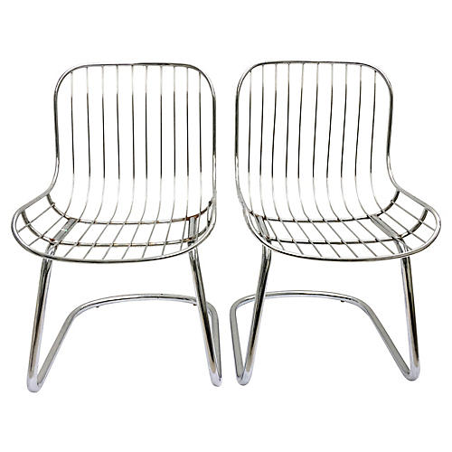 60's Italian Chrome Slipper Chairs, Pair