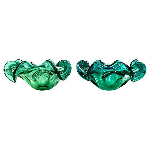 Midcentury Art Glass Bowls, Pair