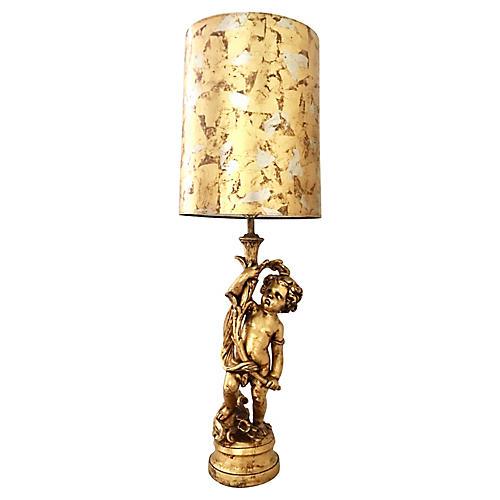 Gilt-Cherub Table Lamp w/ Shade