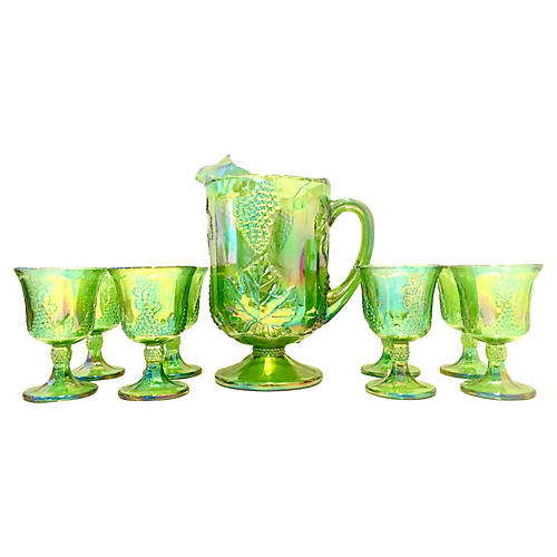 Carnival Glass Set, 9 Pcs