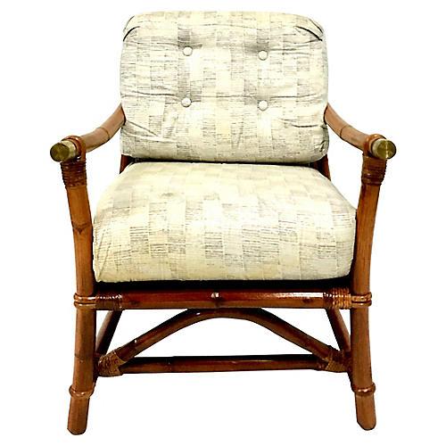 40'S Rattan & Brass Recliner Armchair