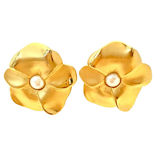 Givenchy Gold Flower Earrings