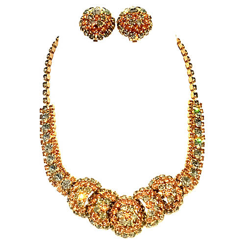 1950s Crystal Necklace & Earrings