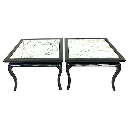 Pair Of Lacquered Marble Top Side Tables
