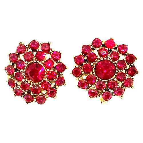 Rose Cut Garnet Earrings