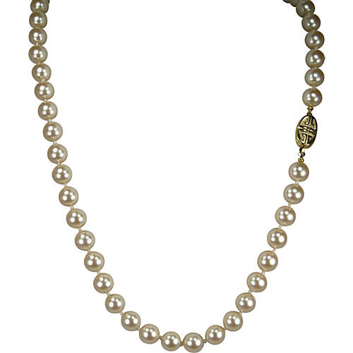 Givenchy Glass Pearl Gold Clasp Necklace