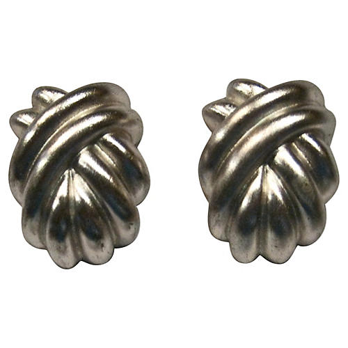 Givenchy Silver Plate Knotted Earrings