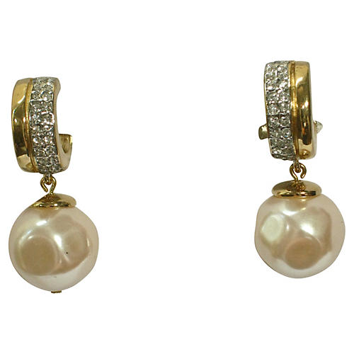 Givenchy Baroque Pearl Crystal Earrings
