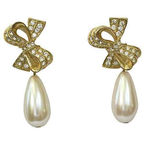 Crystal Bow & Pearl Drop Earrings