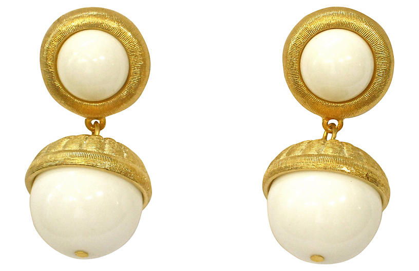 Givenchy White & Gold Drop Earrings