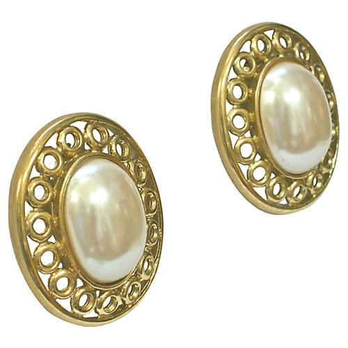 Givenchy Gold Glass Pearl Earrings