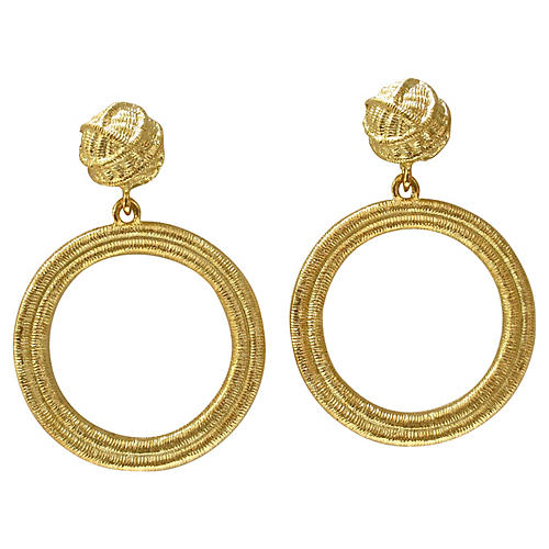 Givenchy Gold Foil Textured Earrings