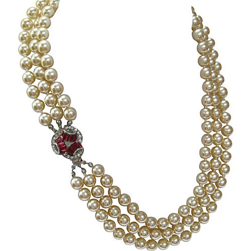 Triple-Strand Ruby Glass Pearl Necklace