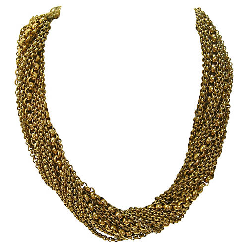 Etruscan-Revival Gold Necklace