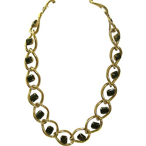 Givenchy Black Glass Gold Link Necklace