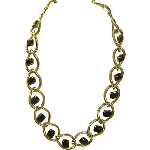Givenchy Black Glass Gold Link Necklace