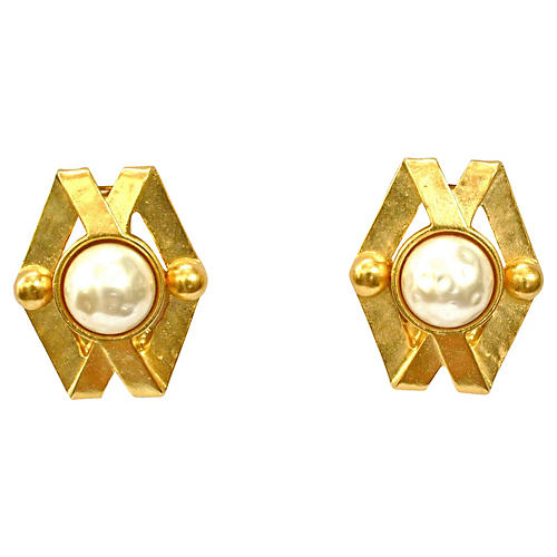 Karl Lagerfeld Baroque Pearl Earrings