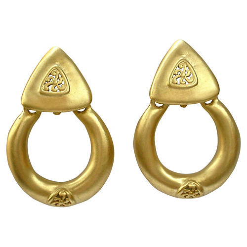 Oversize Matte Gold Givenchy Earrings