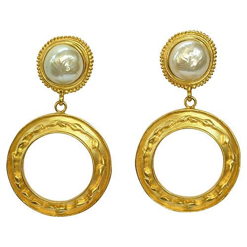 Karl Lagerfeld Hoop Pearl Earrings