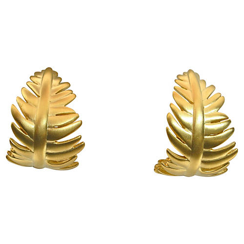 Givenchy Gold Matte Leaf Earrings