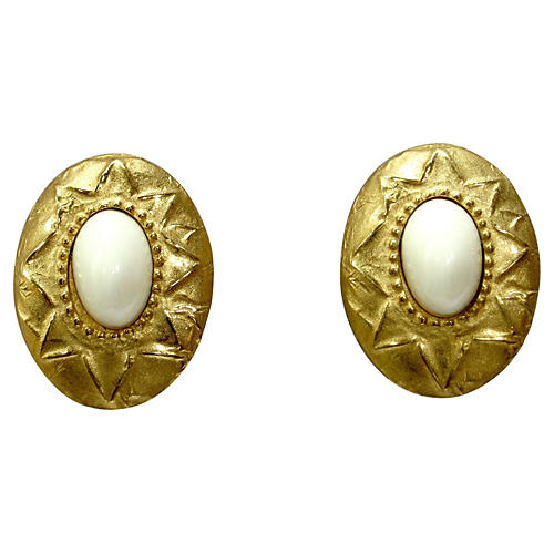 Givenchy Gold Milk Glass Shield Earrings