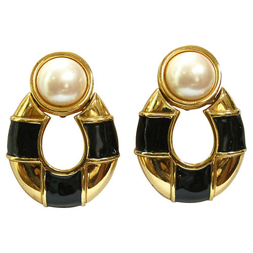 Black & Gold Givenchy Pearl Earrings
