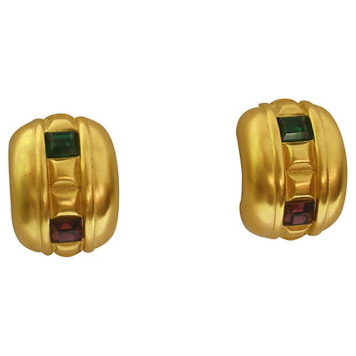 Givenchy Matte Gold Bejeweled Earrings