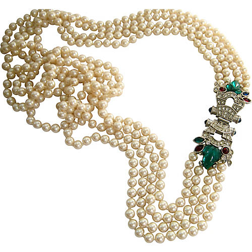 Givenchy Runway Bejeweled Pearl Necklace