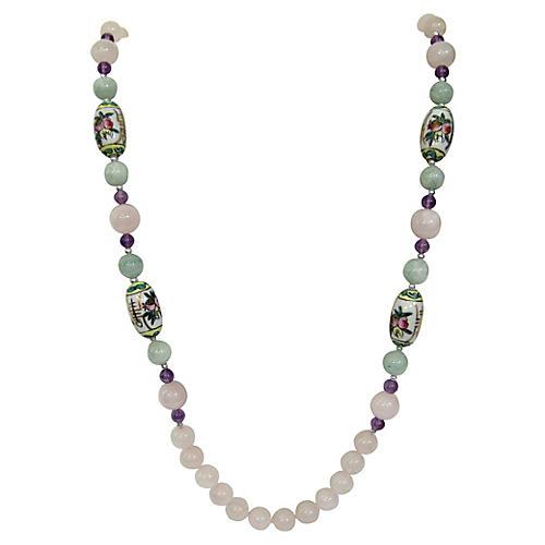 Chinese Porcelain & Quartz Necklace