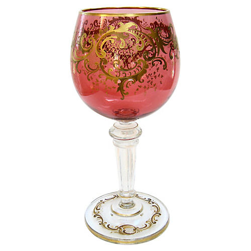 Antique Gold-Encrusted Crystal Chalice