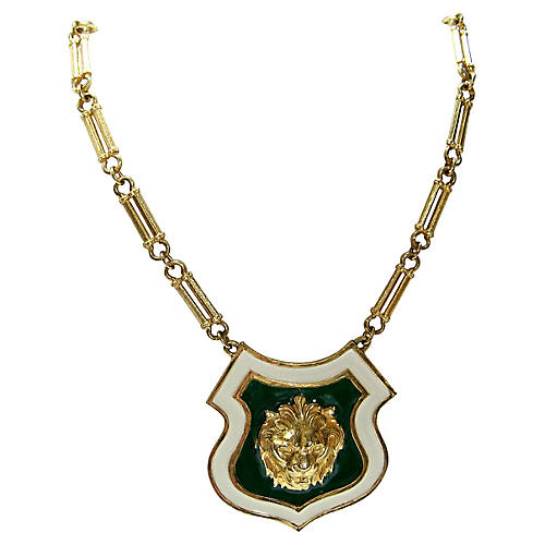Accessocraft NYC Lion Shield Necklace
