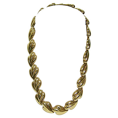 1980s Gold Leaf-Link Necklace