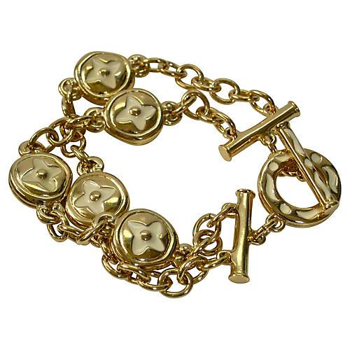 Givenchy Gold Enamel Chain Link Bracelet
