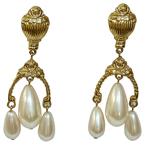 Givenchy Etruscan-Style Pearl Earrings