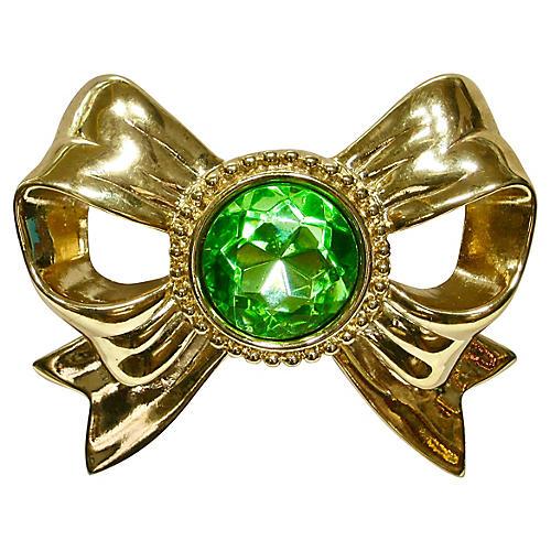 Givenchy Gold Bow Peridot Brooch