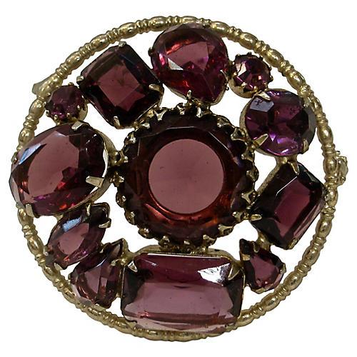 1920s Royal Amethyst Crystal Brooch