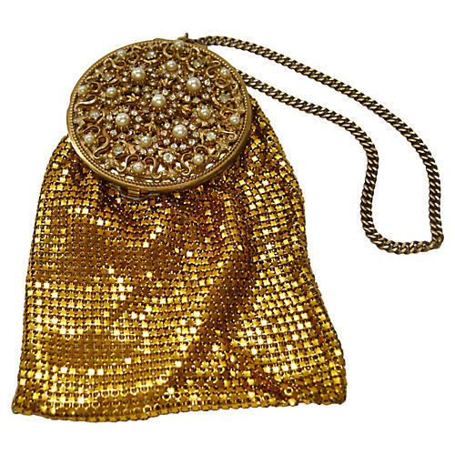 1920s Chatelaine Bejeweled Mesh Purse