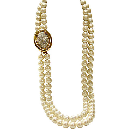Givenchy Crystal Enhancer Pearl Necklace