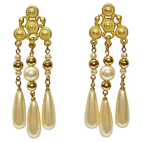 Givenchy Etruscan Style Pearl Earrings