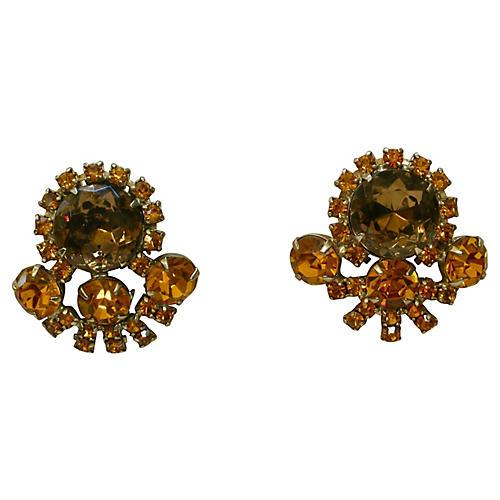 1960s Juliana Amber Crystal Earrings