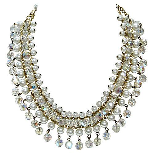 1960s Crystal & Pearl Festoon Necklace